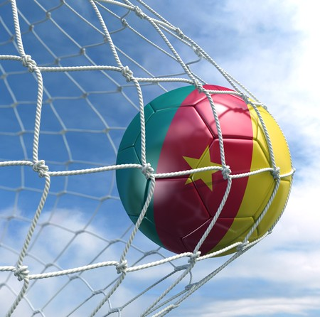 cameroonian: 3d rendering of a Cameroonian soccer ball in a net
