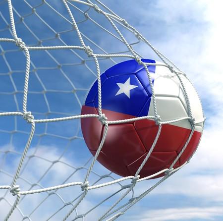 chilean flag: representaci�n 3D de un bal�n de f�tbol chileno en una red  Foto de archivo