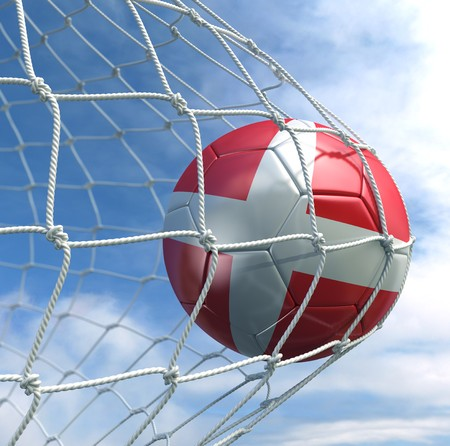 3d rendering of a Danish soccer ball in a net Stock Photo - 7827052