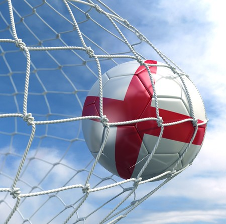 3d rendering of an English soccer ball in a net Stock Photo - 7827042