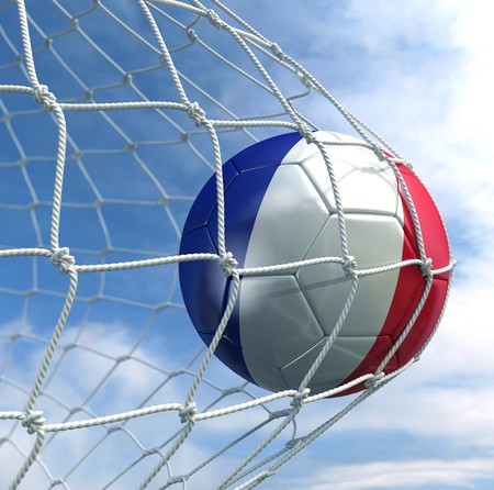 3d rendering of a French soccer ball in a net Stock Photo - 7827040