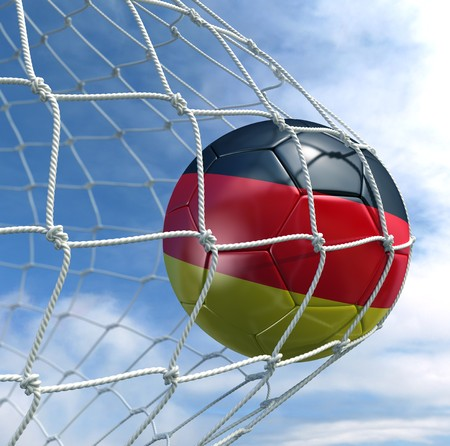 3d rendering of a German soccer ball in a net Stock Photo - 7827062