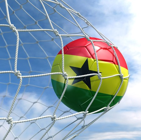3d rendering of a Ghanaian soccer ball in a net Stock Photo - 7827065
