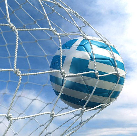 3d rendering of an Argentinian soccer ball in a net photo