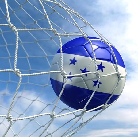 3d rendering of a Honduran soccer ball in a net photo