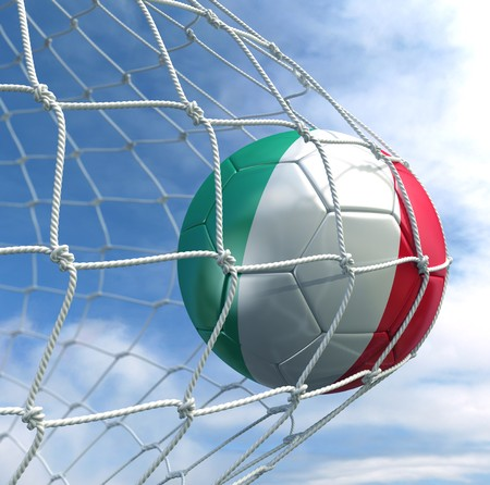 3d rendering of a Italian soccer ball in a net Stock Photo - 7827037