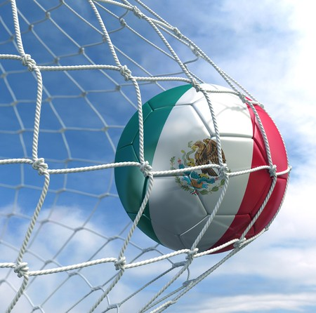 3d rendering of a Mexican soccer ball in a net photo