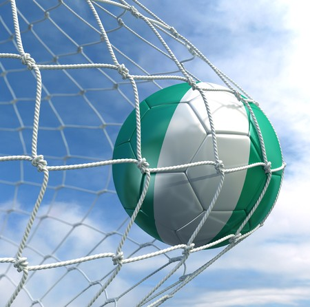 3d rendering of a Nigerian soccer ball in a net Stock Photo - 7827036