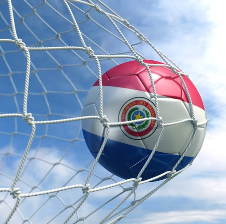 3d rendering of a Paraguayan soccer ball in a net Stock Photo - 7827069