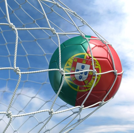 3d rendering of a Portuguese soccer ball in a net photo
