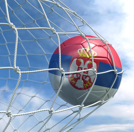3d rendering of a Serbian soccer ball in a net Stock Photo - 7827076