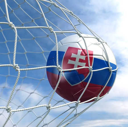 3d rendering of a Slovakian soccer ball in a net Stock Photo - 7827053