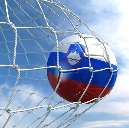 3d rendering of a Slovenian soccer ball in a net Stock Photo - 7827056