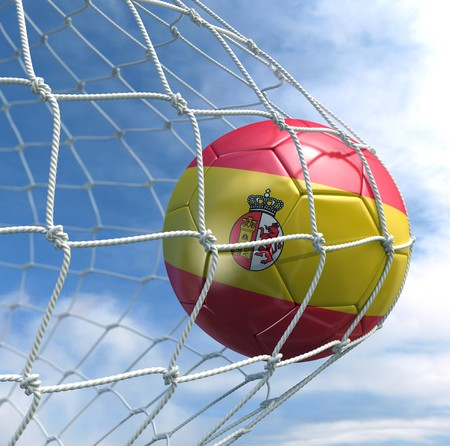 3d rendering of a Spanish soccer ball in a net Stock Photo - 7827075