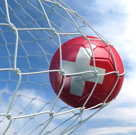 3d rendering of a Swiss soccer ball in a net Stock Photo - 7827060