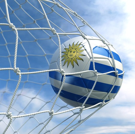 3d rendering of a Uruguayan soccer ball in a net Stock Photo - 7827070