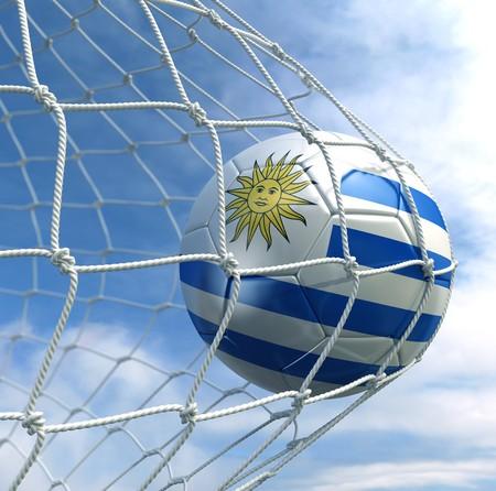 uruguay flag: 3d rendering of a Uruguayan soccer ball in a net