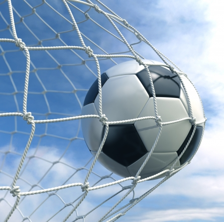 soccer goal: 3d rendering of a soccer ball in a net