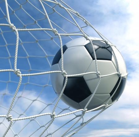 pelota de futbol: representaci�n 3D de un bal�n de f�tbol en una red