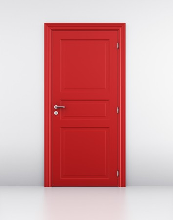 keyholes: 3d rendering of a red door in a white wall