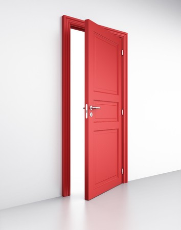 doors open: 3d rendering of an open red door in a white wall