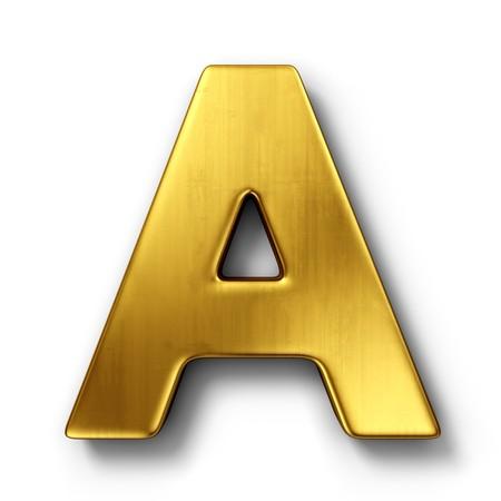 letras doradas: representaci�n 3D de la letra A en metal oro sobre un fondo blanco aislado de fondo.