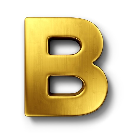 3d rendering of the letter B in gold metal on a white isolated background.