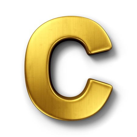 3d rendering of the letter C in gold metal on a white isolated background. Imagens