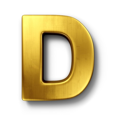 cgi: 3d rendering of the letter D in gold metal on a white isolated background. Stock Photo