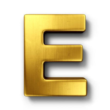 metal alphabet: 3d rendering of the letter E in gold metal on a white isolated background.