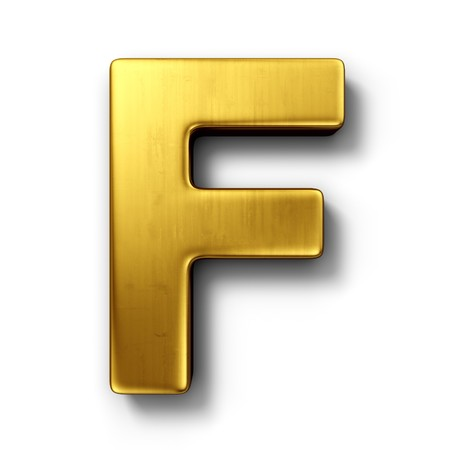 shiny metal: 3d rendering of the letter F in gold metal on a white isolated background. Stock Photo