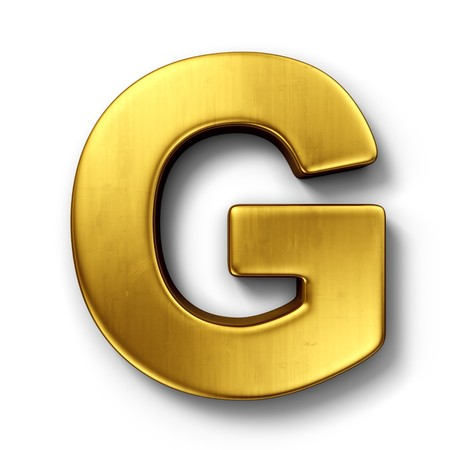 3d rendering of the letter G in gold metal on a white isolated background.