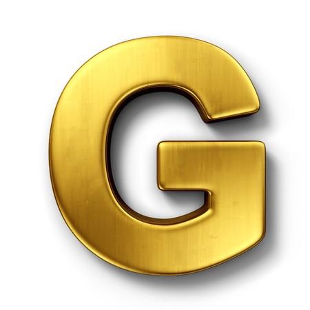 letras doradas: representaci�n 3D de la letra G en metal oro sobre un fondo blanco aislado de fondo.  Foto de archivo
