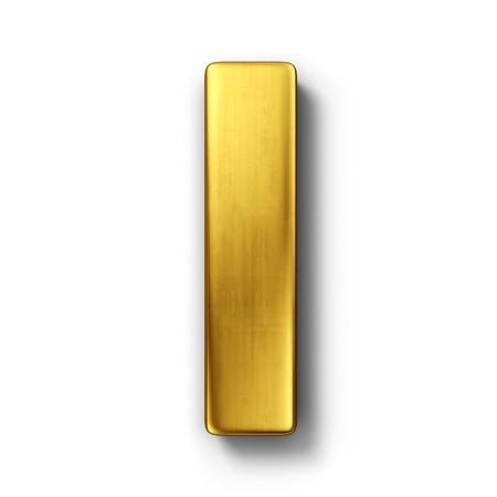 letras doradas: representaci�n 3D de la letra I en metal oro sobre un fondo blanco aislado de fondo.