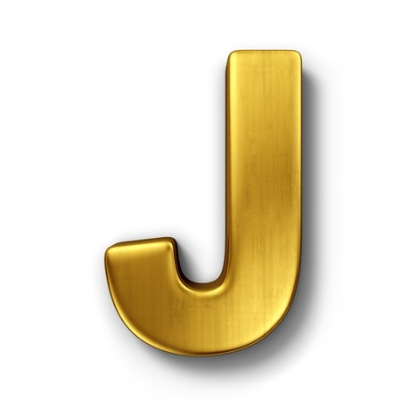 J: 3d rendering of the letter J in gold metal on a white isolated background.