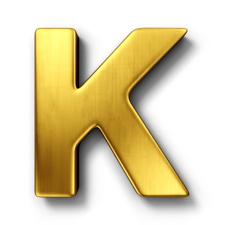 3d rendering of the letter K in gold metal on a white isolated background. photo