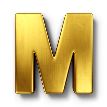 cgi: 3d rendering of the letter M in gold metal on a white isolated background.