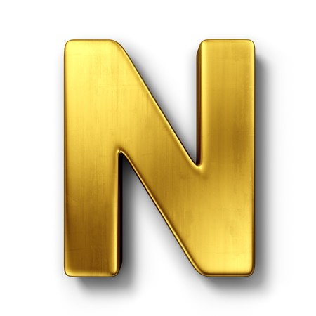 white letters: 3d rendering of the letter N in gold metal on a white isolated background. Stock Photo