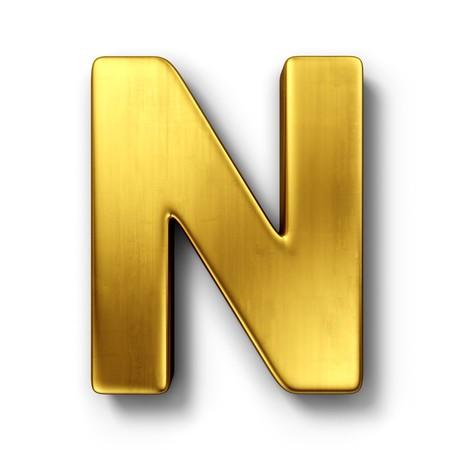 lettres en or: rendu 3D de la lettre N en m�tal or sur un blanc isol�es de fond.