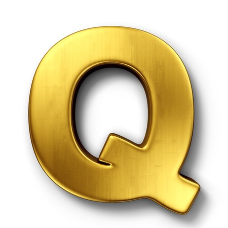 letter q: 3d rendering of the letter Q in gold metal on a white isolated background.