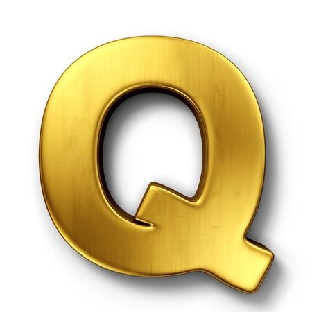 gold letters: representaci�n 3D de la letra Q en metal oro sobre un fondo blanco aislado de fondo.