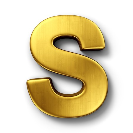 letter alphabet: 3d rendering of the letter S in gold metal on a white isolated background. Stock Photo
