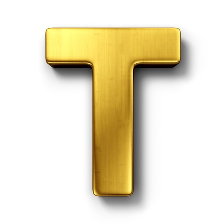 white letters: 3d rendering of the letter T in gold metal on a white isolated background.