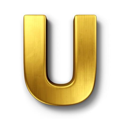 letras doradas: representaci�n 3D de la letra U en metal oro sobre un fondo blanco aislado de fondo. Foto de archivo