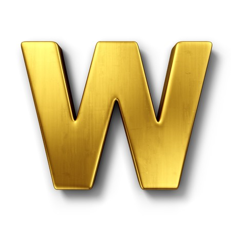 shiny metal: 3d rendering of the letter W in gold metal on a white isolated background.