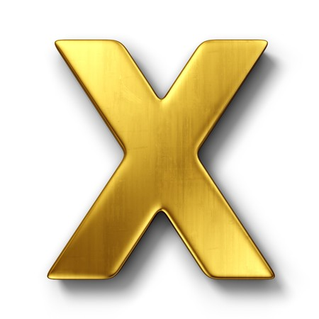 letter x: 3d rendering of the letter X in gold metal on a white isolated background. Stock Photo