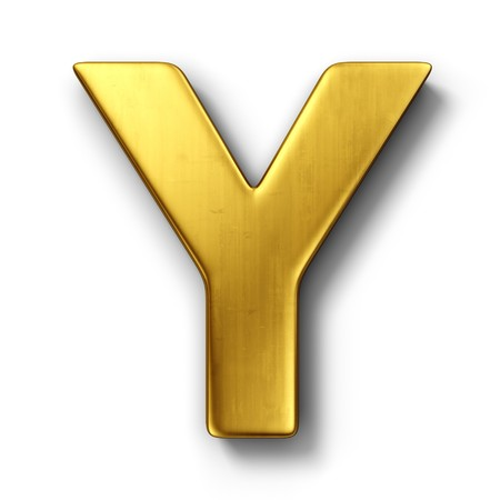 3d rendering of the letter Y in gold metal on a white isolated background.