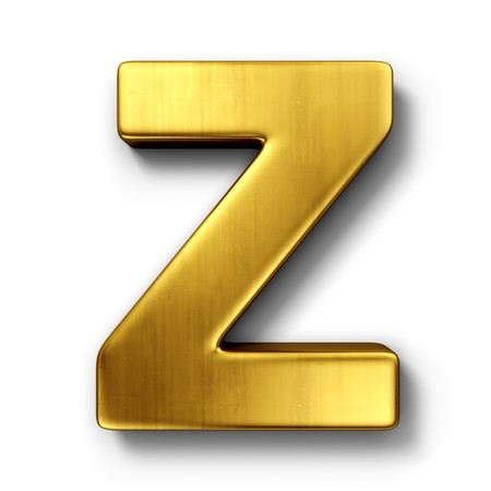 3d rendering of the letter Z in gold metal on a white isolated background.