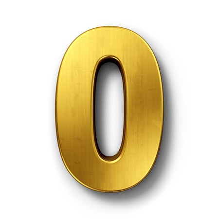 null: 3d rendering of the number 0 in gold metal on a white isolated background.