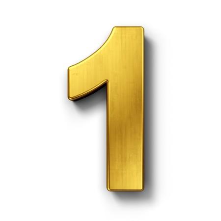 numero uno: rendering 3D del numero 1 in metallo in oro su un bianco isolato sfondo.